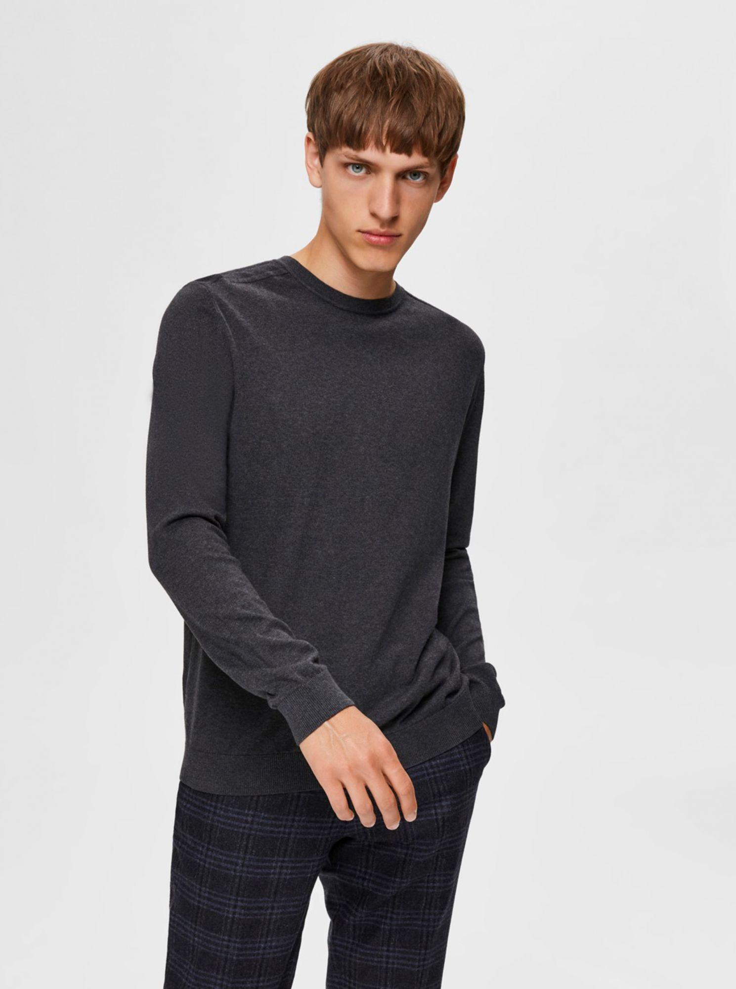 Selected Homme šedý basic svetr Berg
