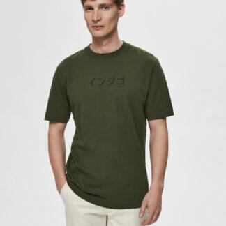 Selected Homme tmavě zelené pánské tričko Ryan