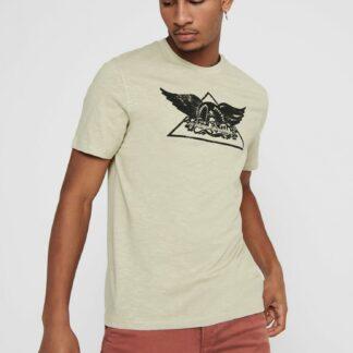 ONLY & SONS béžové polo tričko s potiskem