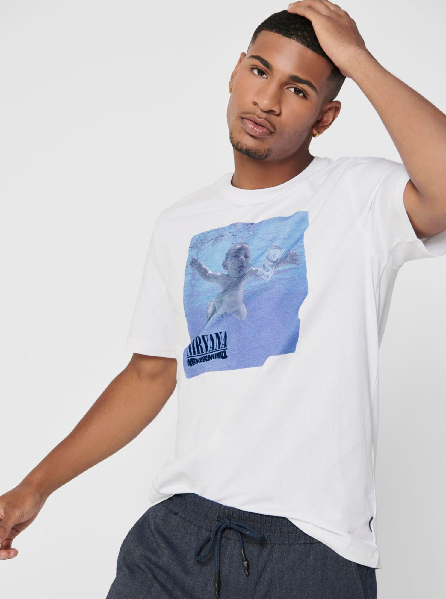 ONLY & SONS bílé pánské tričko Nirvana s potiskem