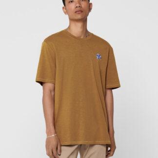 ONLY & SONS hnědé pánské tričko Mag s výšivkou