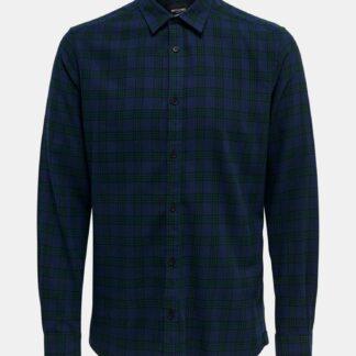 ONLY & SONS modro-zelená pánská kostkovaná košile