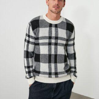 Černo-bílý pánský vlněný kostkovaný svetr Trendyol