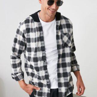 Černo-bílá pánská kostkovaná košile Trendyol