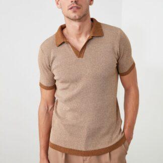 Hnědé pánské polo tričko Trendyol