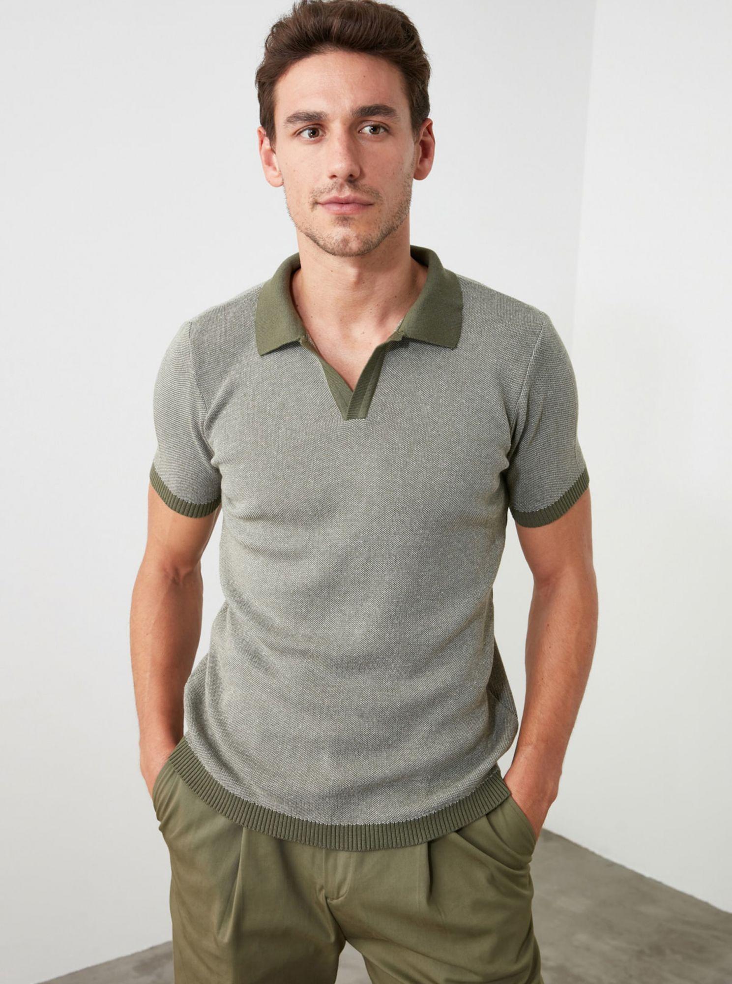 Khaki pánské polo tričko Trendyol
