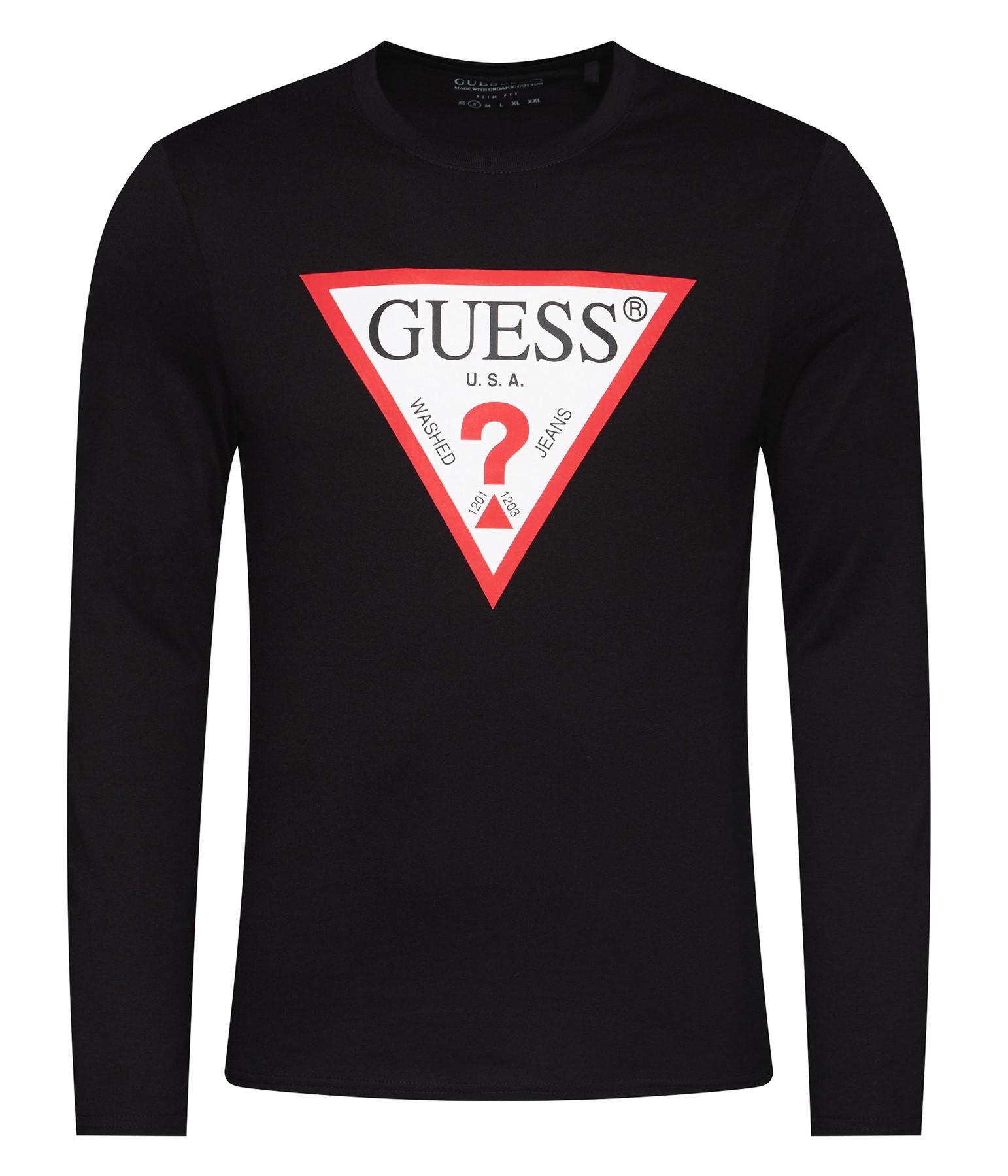 Guess černé pánské tričko Triangle Logo