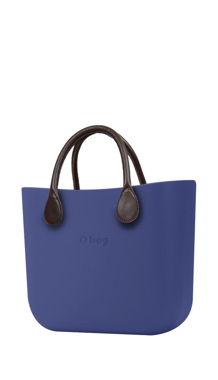 O bag  modrá kabelka MINI Cobalto s hnědými krátkými koženkovými držadly