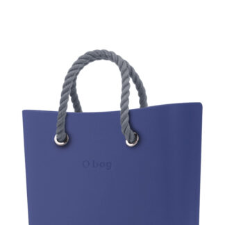 O bag  modrá kabelka MINI Cobalto s šedými krátkými provazy