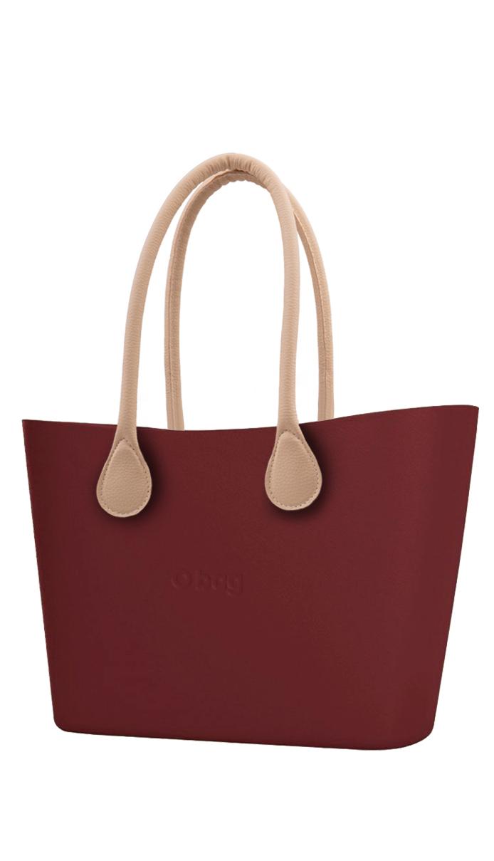 O bag  kabelka Urban Ruby Red s dlouhými koženkovými držadly natural