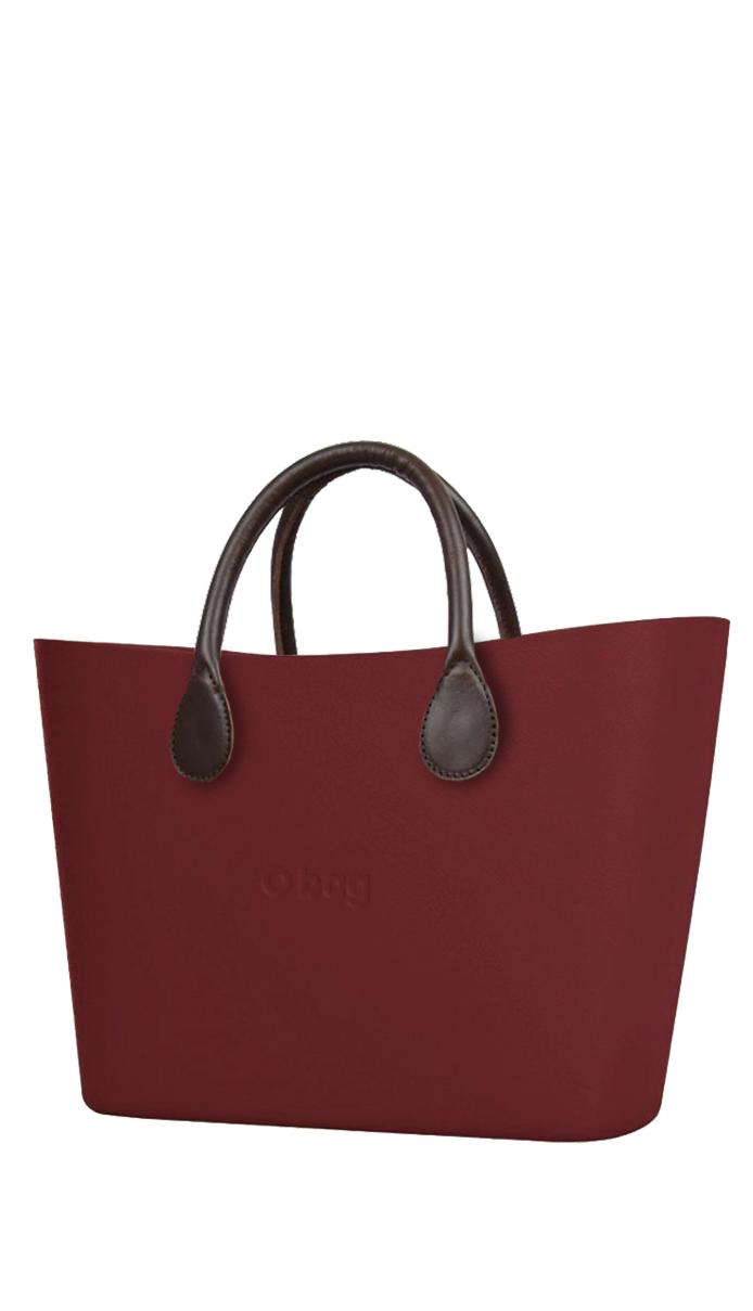 O bag  kabelka Urban Ruby Red s hnědými krátkými koženkovými držadly