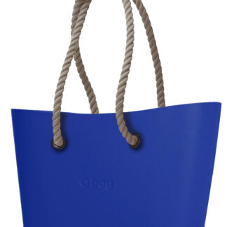 O bag  modrá kabelka Urban Blue Maya s dlouhými provazy natural