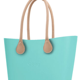 O bag  tyrkysová kabelka Urban Tiffany s dlouhými koženkovými držadly natural