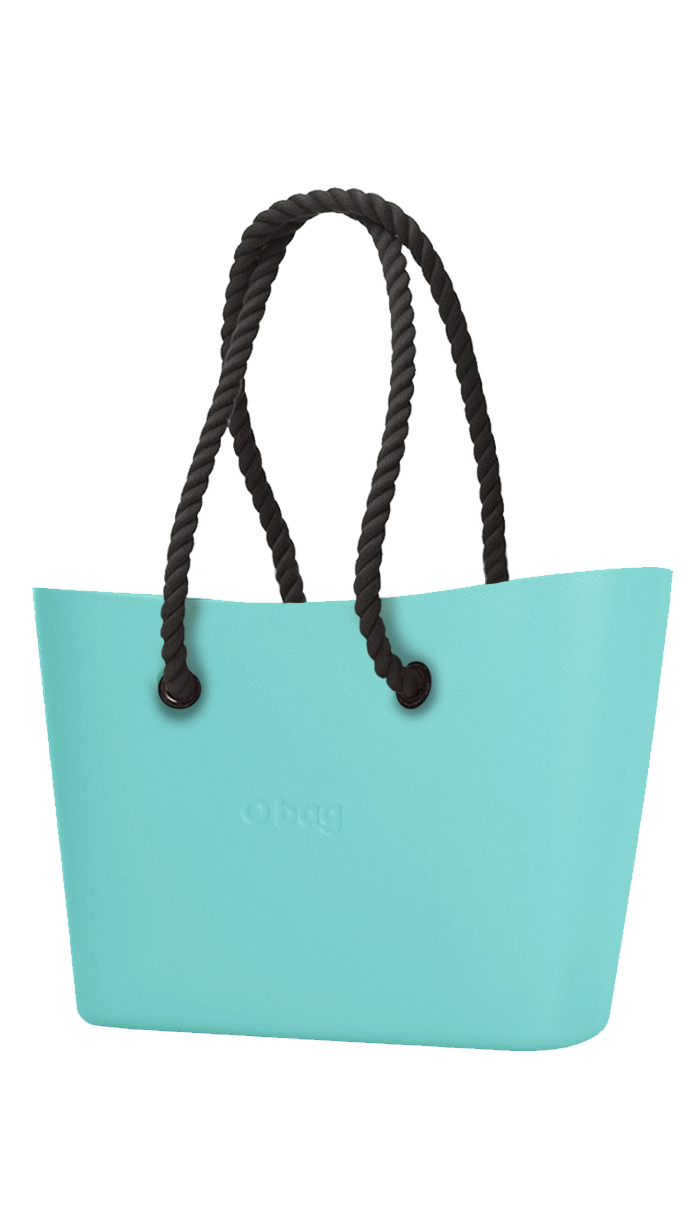 O bag  tyrkysová Urban kabelka Tiffany s černými dlouhými provazy