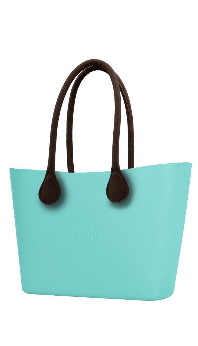 O bag  tyrkysová Urban kabelka Tiffany s hnědými dlouhými koženkovými držadly