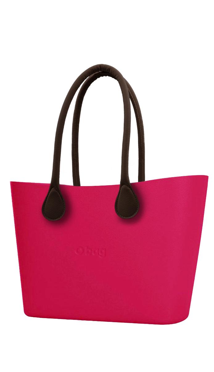 O bag  Urban kabelka Amaranto s hnědými dlouhými koženkovými držadly