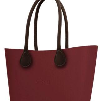 O bag  Urban kabelka Ruby Red s hnědými dlouhými koženkovými držadly