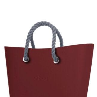 O bag  Urban kabelka Ruby Red s šedými krátkými provazy