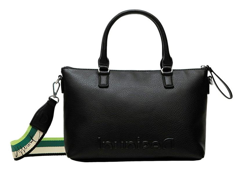 Desigual černá kabelka Bols Embossed Half Logo Padua