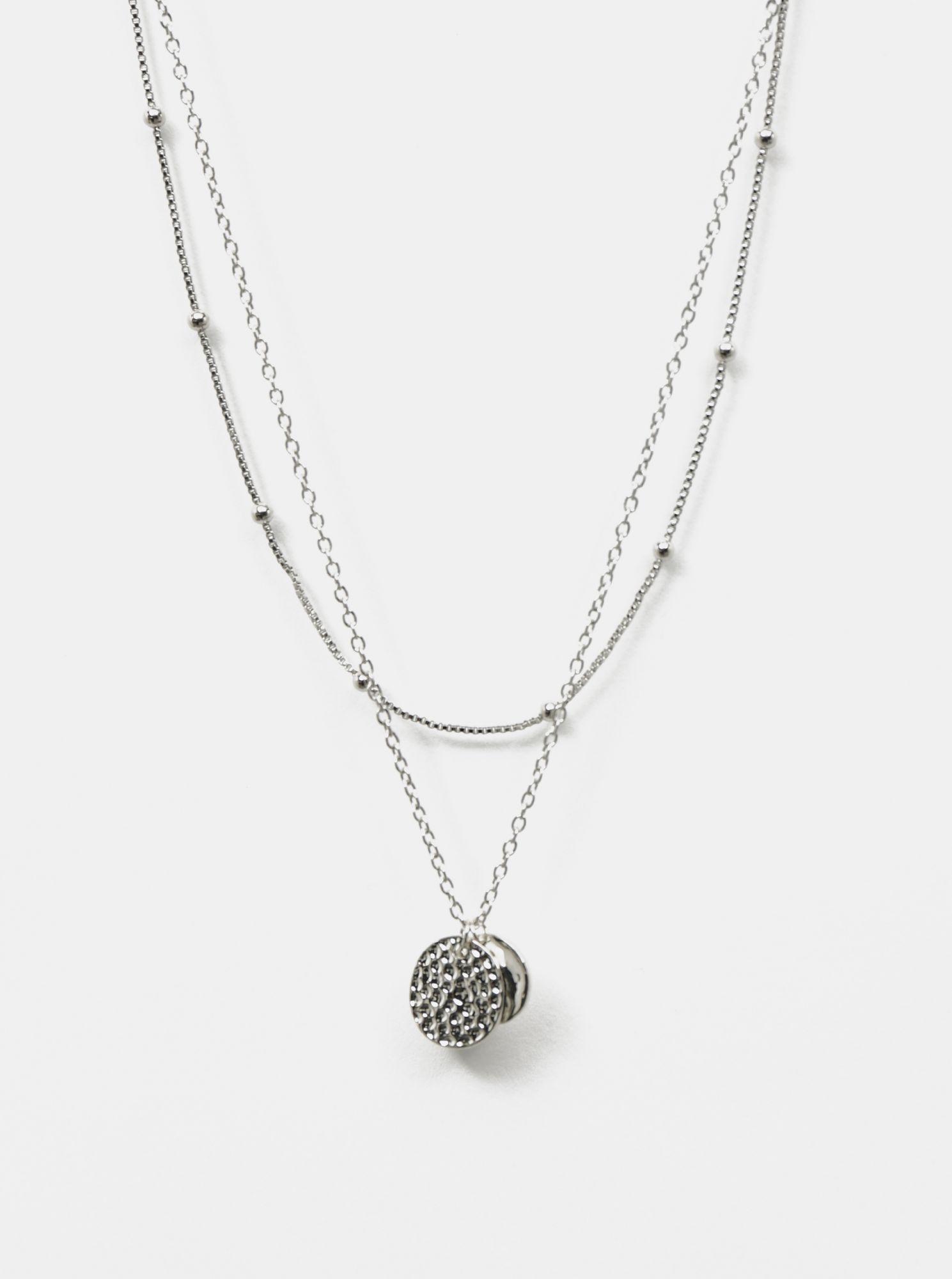 Pieces náhrdelník ve stříbrné barvě