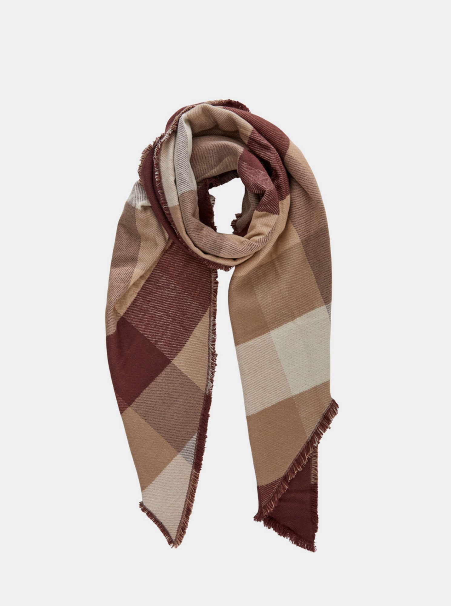 Pieces béžovo-hnědý kostkovaný šátek