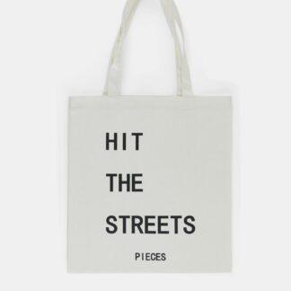 Pieces bílá plátěná taška s potiskem