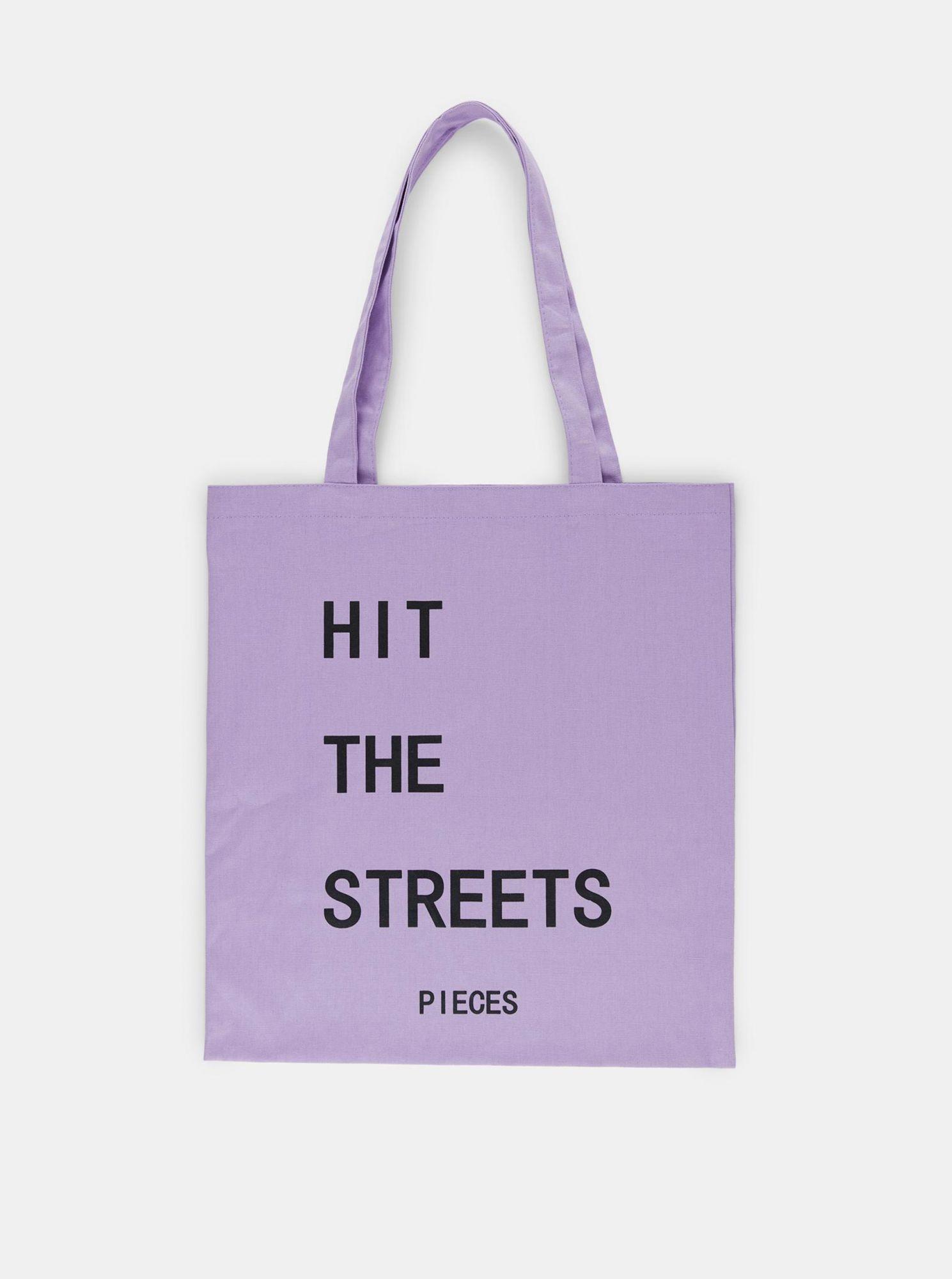 Pieces fialová plátěná taška s potiskem
