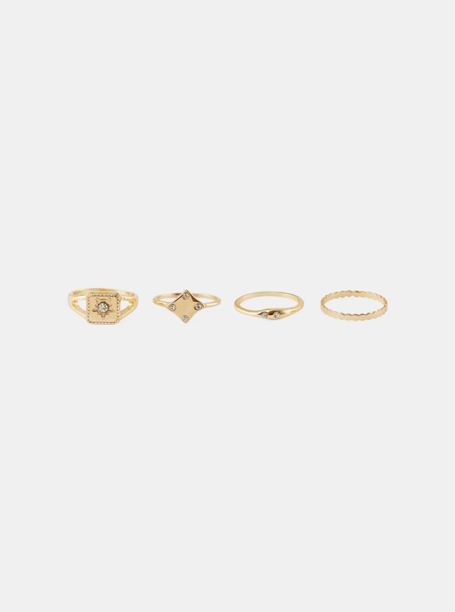 Pieces sada čtyř prstýnků ve zlaté barvě