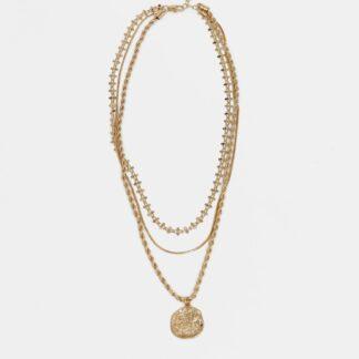 Pieces náhrdelník ve zlaté barvě