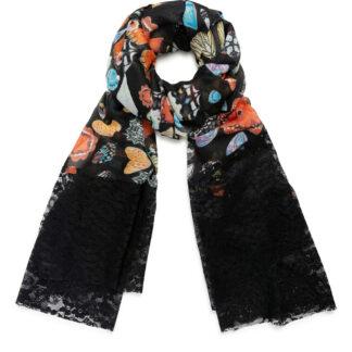 Desigual černý šátek Foul Butterfly Galactic