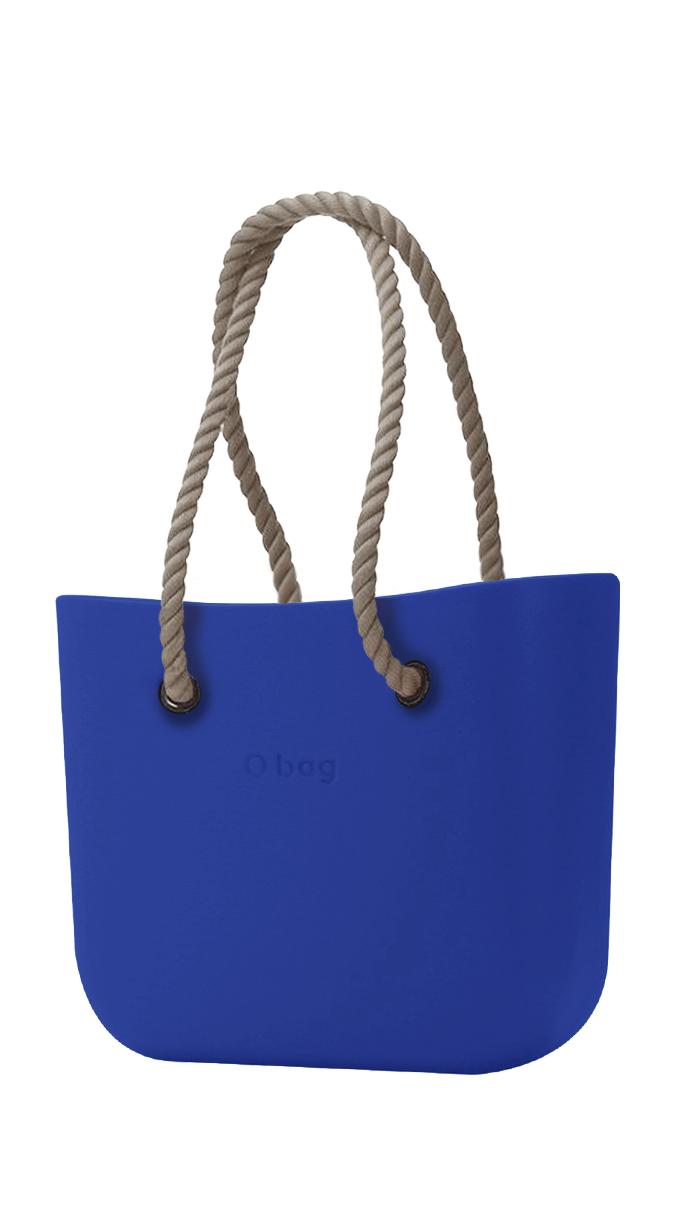 O bag modrá kabelka Blue Maya s dlouhými provazy natural