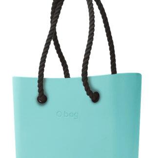 O bag tyrkysová kabelka MINI Tiffany s černými dlouhými provazy