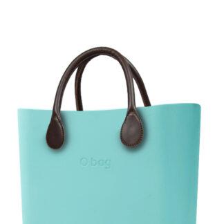 O bag tyrkysová kabelka MINI Tiffany s hnědými krátkými koženkovými držadly
