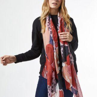 Růžovo-červený květovaný šátek Dorothy Perkins