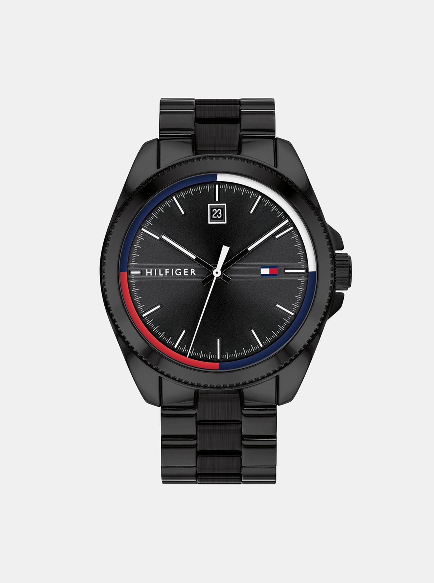 Pánské hodinky s černým ocelovým páskem Tommy Hilfiger