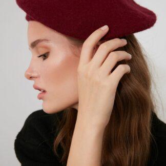 Vínový dámský baret Trendyol