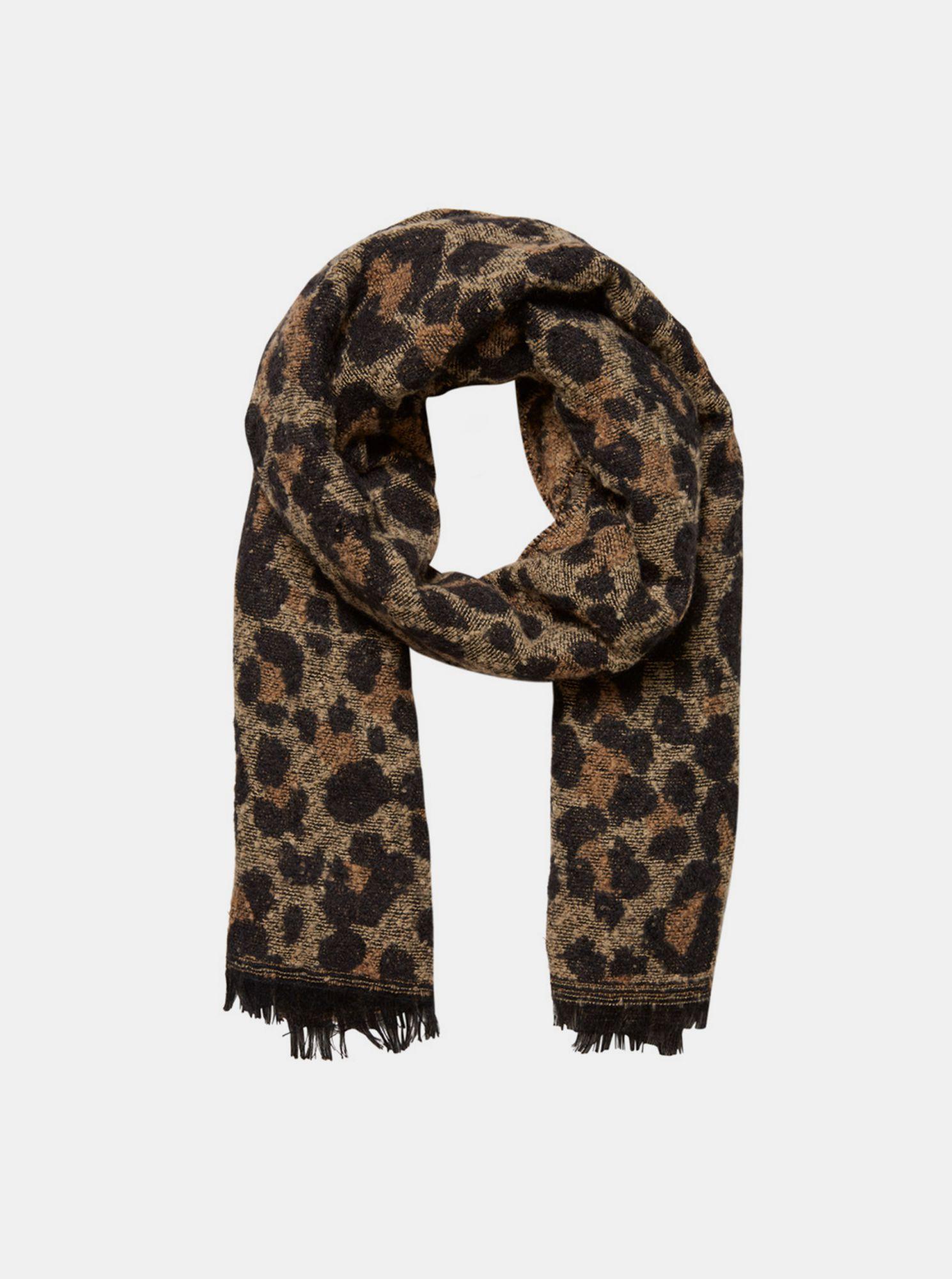 Hnědá vlněná šála s leopardím vzorem VERO MODA sassy