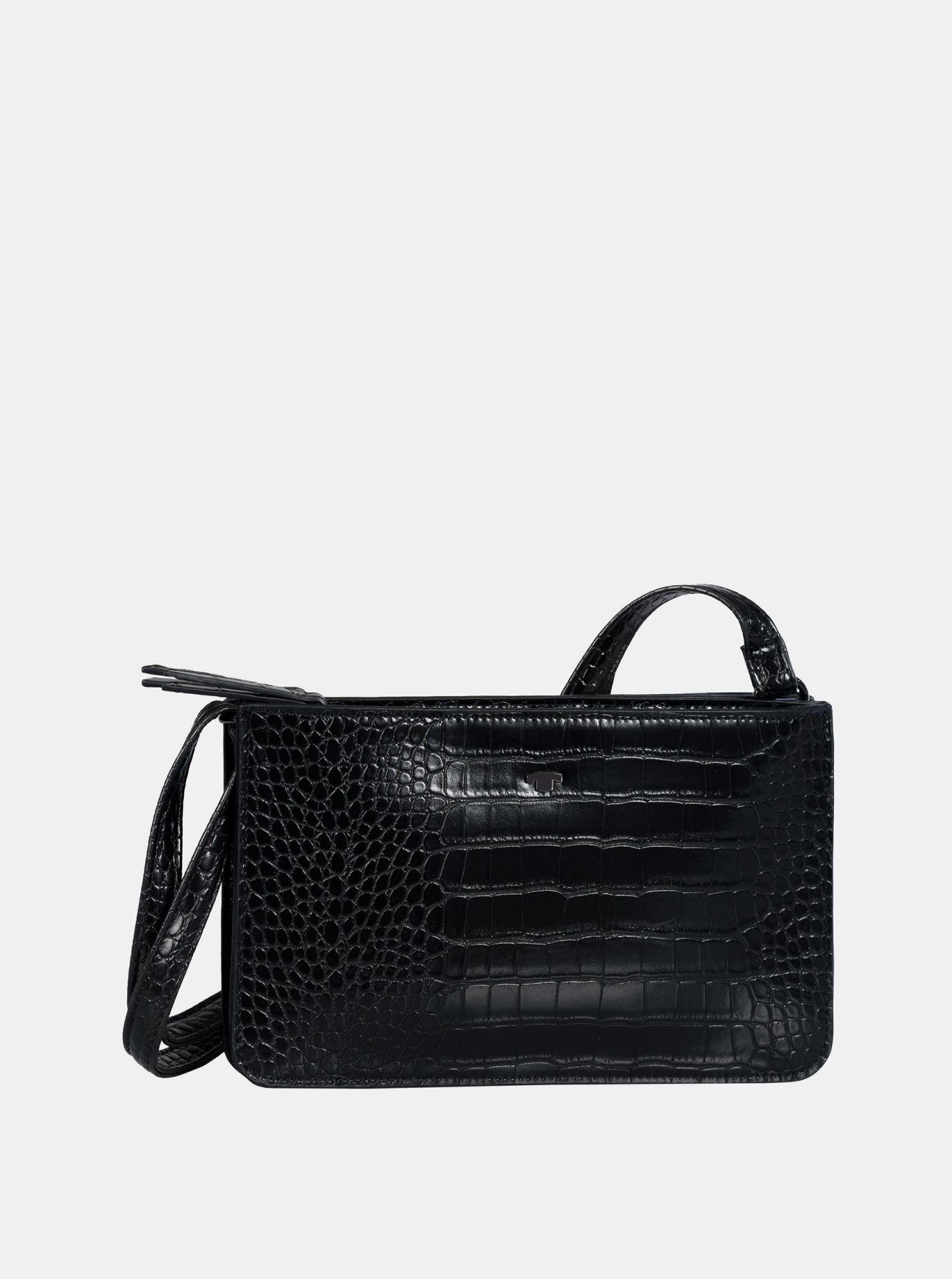 Černá crossbody kabelka s krokodýlím vzorem Tom Tailor