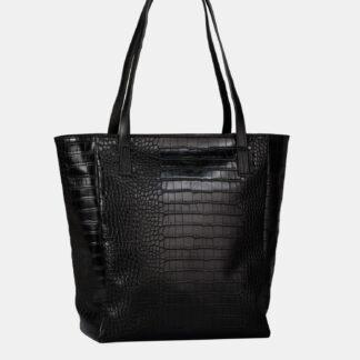 Černý shopper s krokodýlím vzorem Tom Tailor Denim
