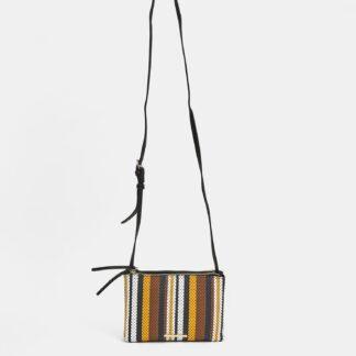 Hnědo-černá pruhovaná crossbody kabelka Bessie London