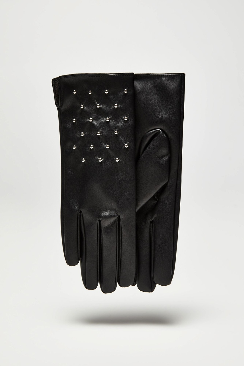 Moodo černé rukavice se stříbrnými cvočky