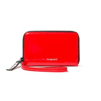Desigual červená lesklá peněženka Mone Forever Young Mini Zip