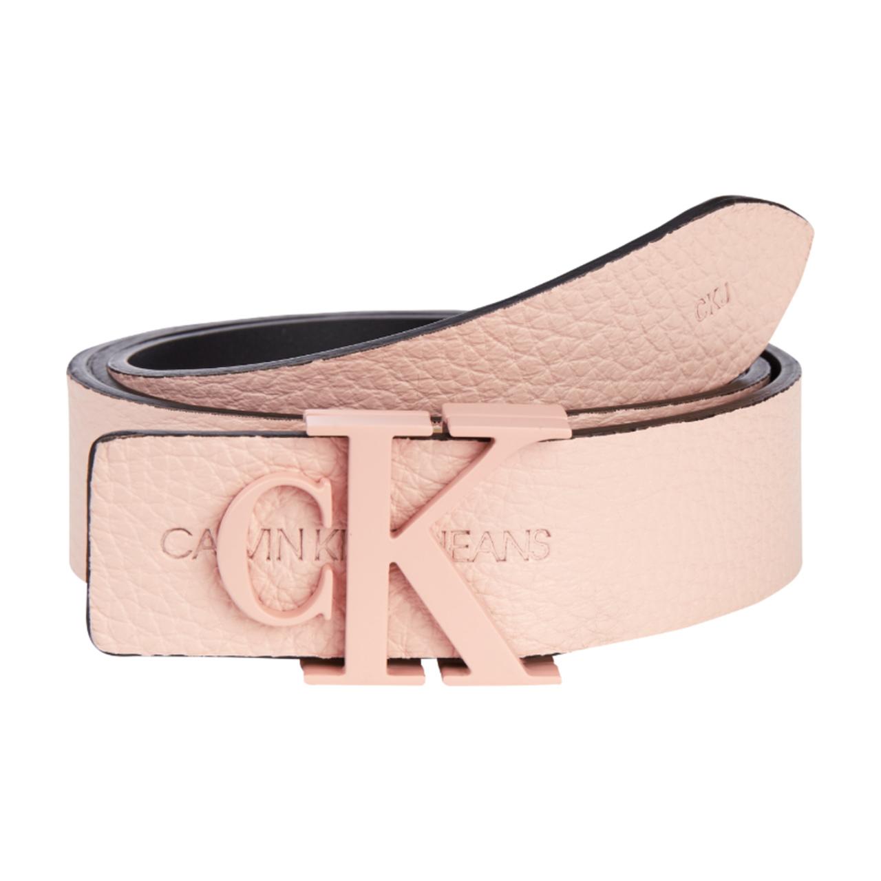 Calvin Klein pudrový kožený pásek Logo SM LHT
