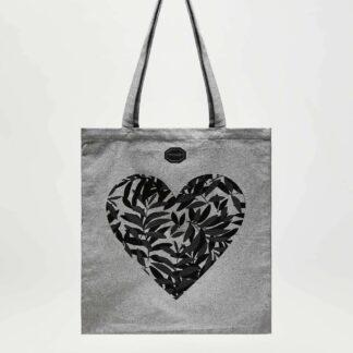 Moodo šedá látková taška se srdcem