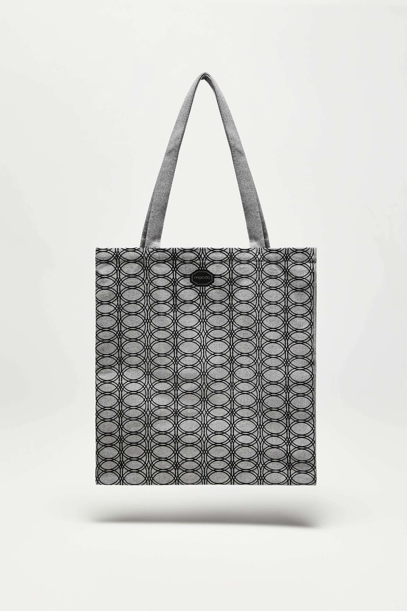 Moodo šedá látková taška se vzory