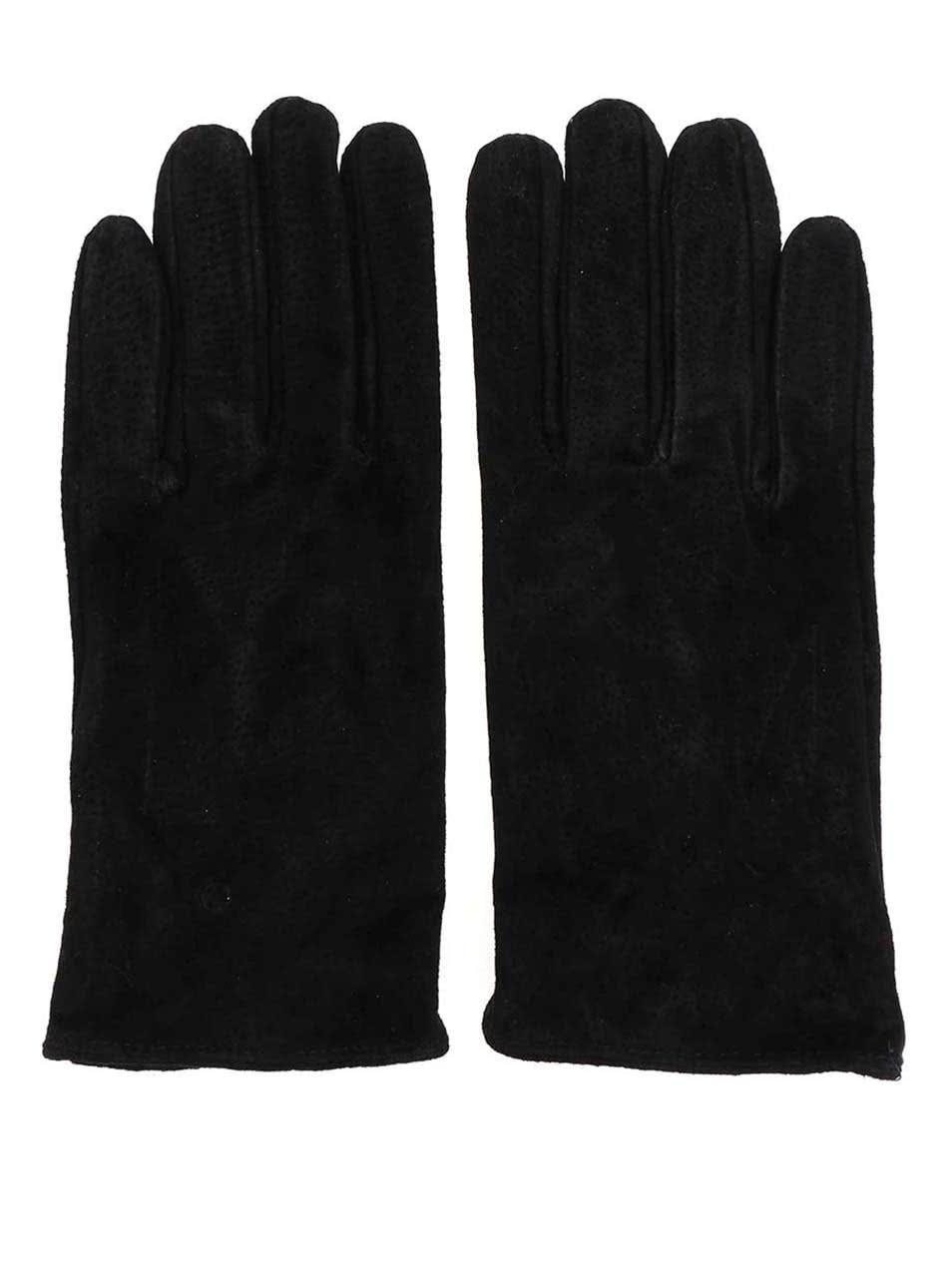 Černé kožené rukavice Pieces Comet