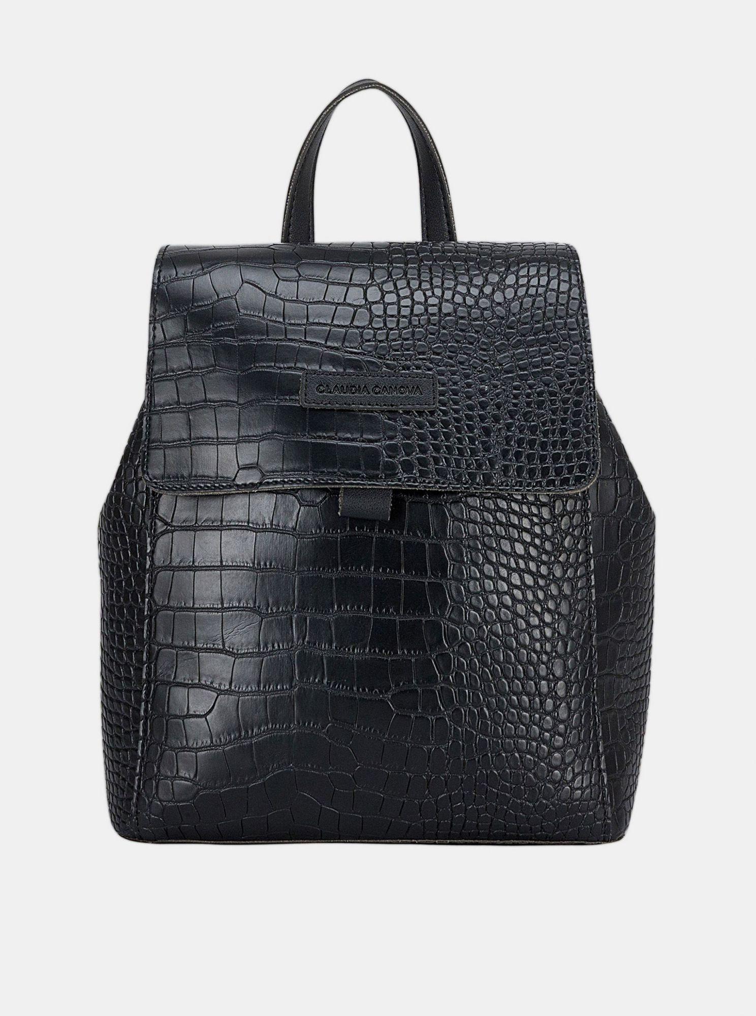Černý batoh s krokodýlím vzorem Claudia Canova Beth