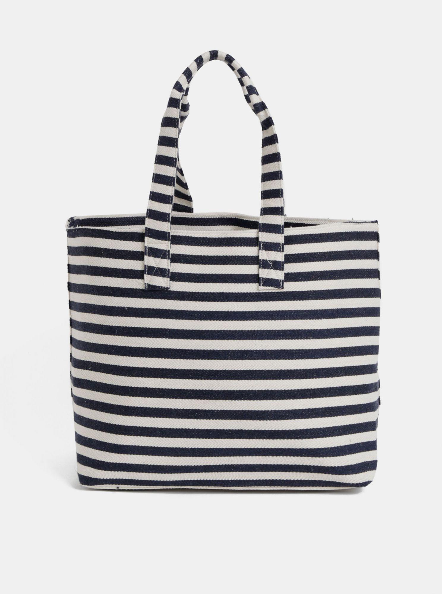 Krémovo-modrá pruhovaná plážová taška Pieces Barbaro