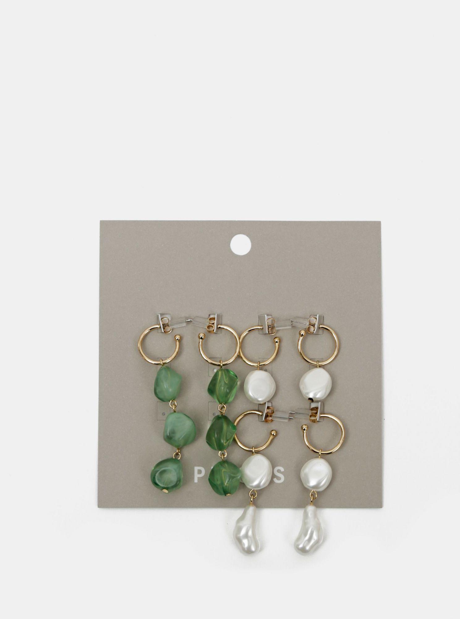 Sada tří párů náušnic v zelené a bílé barvě Pieces Nirma