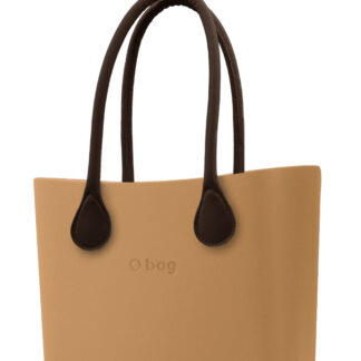 O bag kabelka Biscotto s hnědými dlouhými koženkovými držadly
